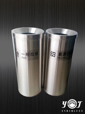 Two Category Recycling Bin-TJ-160308-YJ stainless